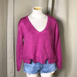 LNA pink crop v neck sweater small
